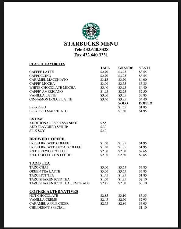 Starbucks Pricing Starbucks Drink Prices Starbucks Menu Starbucks Prices