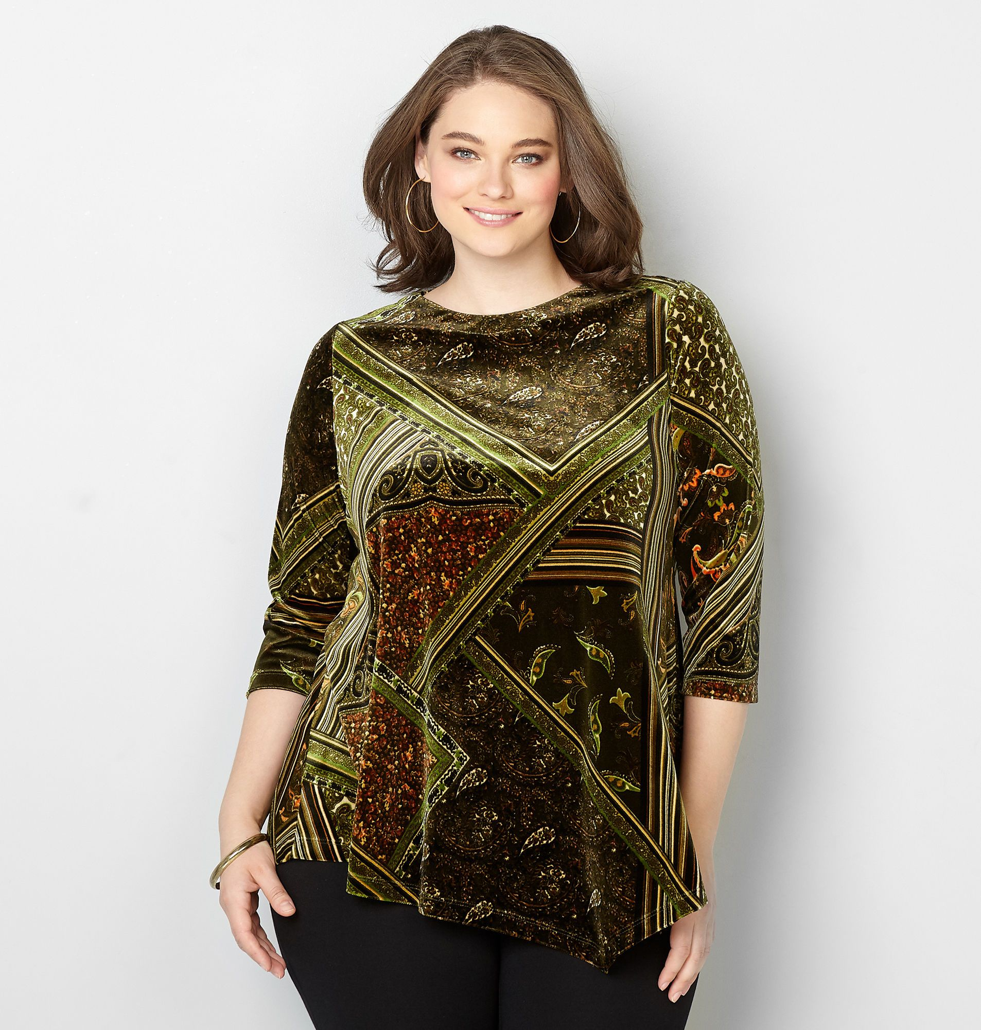 b4ea383de4 Asymmetrical Patchwork Velvet Top - Avenue Velvet Tops