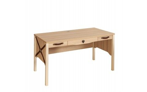 Bureau design 3 tiroirs en bois coloris chêne