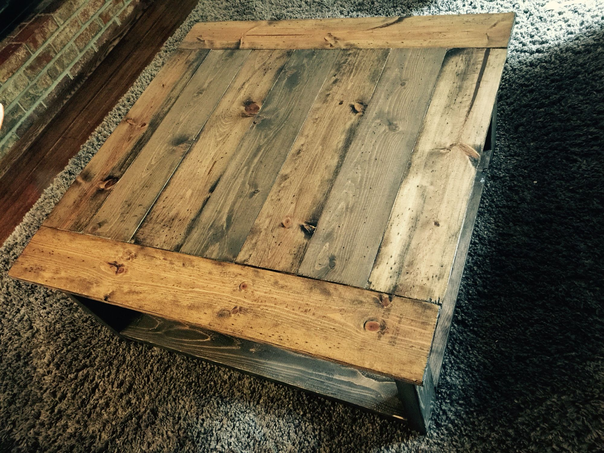Rustic X coffee table Ana White plans Minwax dark walnut and