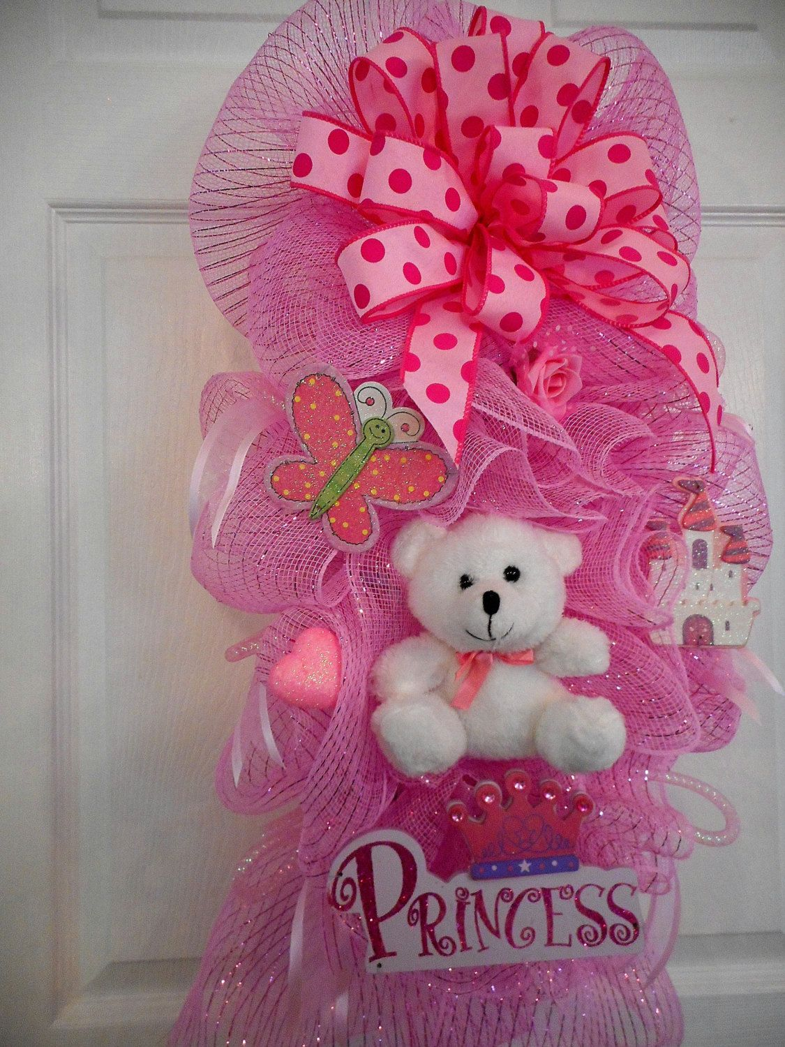 Baby girl deco mesh wreaths girl princess swag baby for Baby shower door decoration