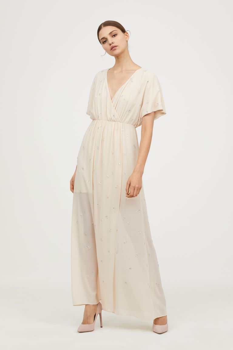 d8f27d0887c Wrap Dress with Embroidery - Light beige -