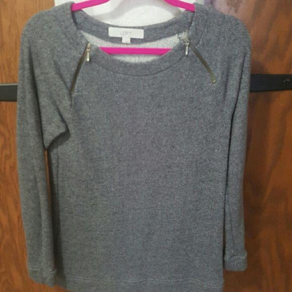 LOFT sweater Gray with zippers LOFT Sweaters Crew & Scoop Necks
