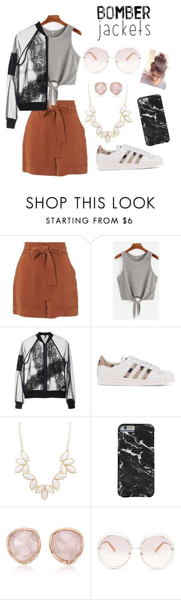 """Bomb the the comfort"" by kimezo ❤ liked on Polyvore featuring Whistles, Topshop, adidas Originals, Charlotte Russe, Monica Vinader, Chloé and bomberjackets"