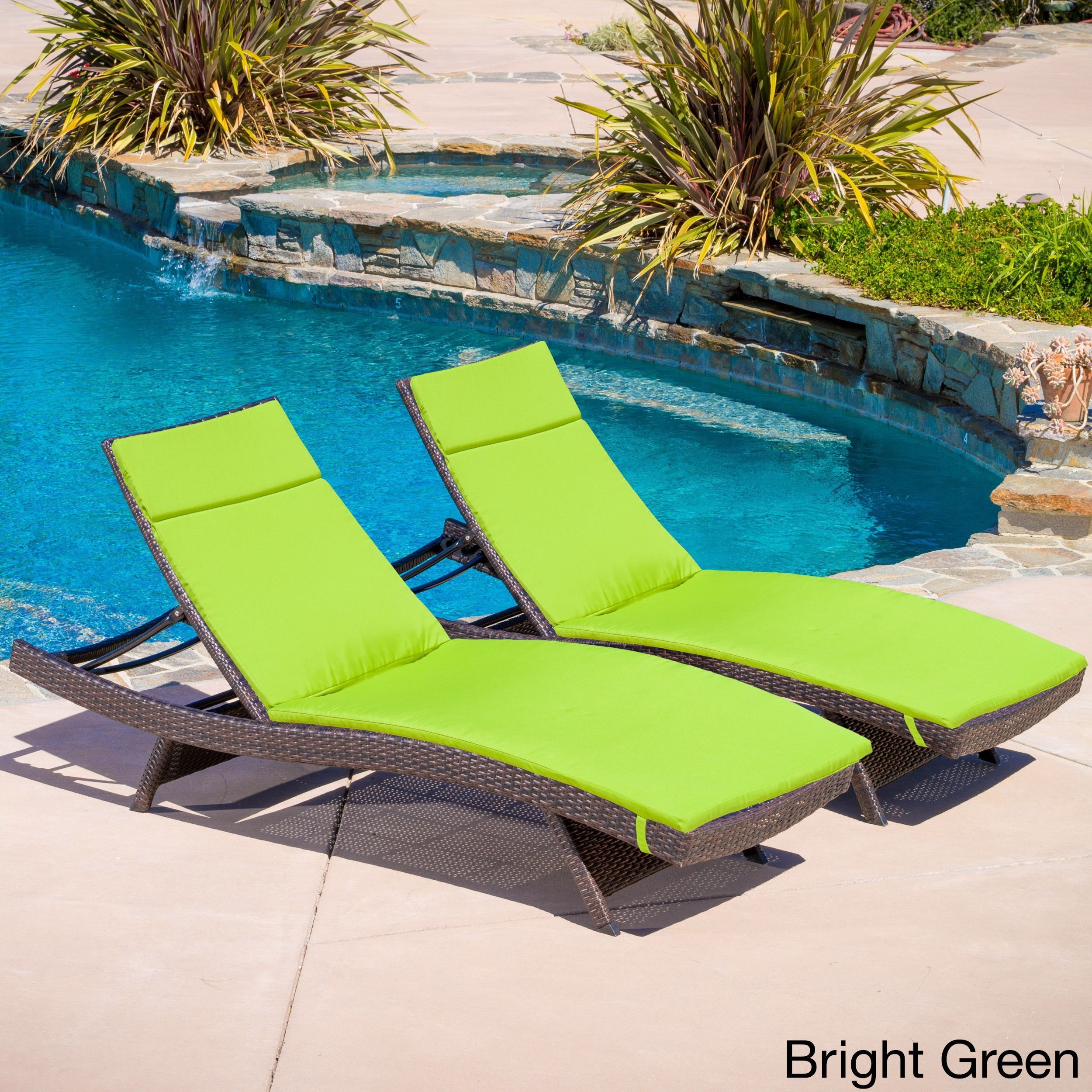 Toscana outdoor wicker adjustable chaise lounge with cushion set of