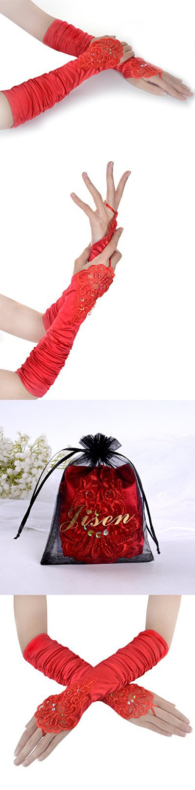 JISEN Ladies's Fingerless Gathered and Beaded Fold Floral Embroidery Lace & Sequins Satin Bridal Party Gloves 15 (Red)