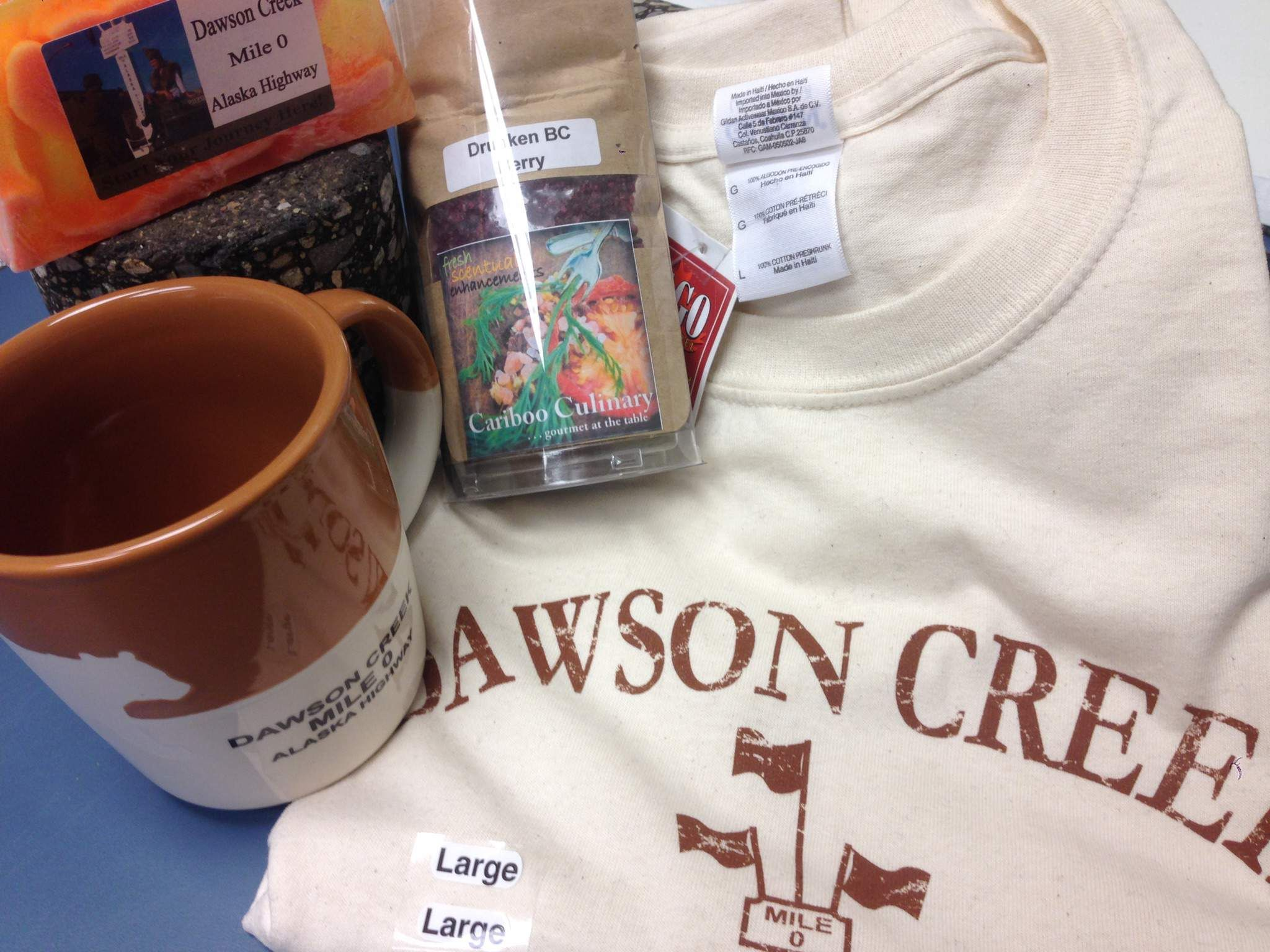 The awesome November Photo Contest prize pack... Check out our Instagram for more info (@tourismcawsoncreek) or our Facebook page Mile 0 Alaska Highway