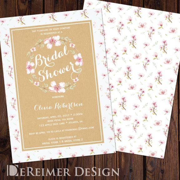 Floral Bridal Shower Invitation, Faux Kraft Paper Card, Craft Paper