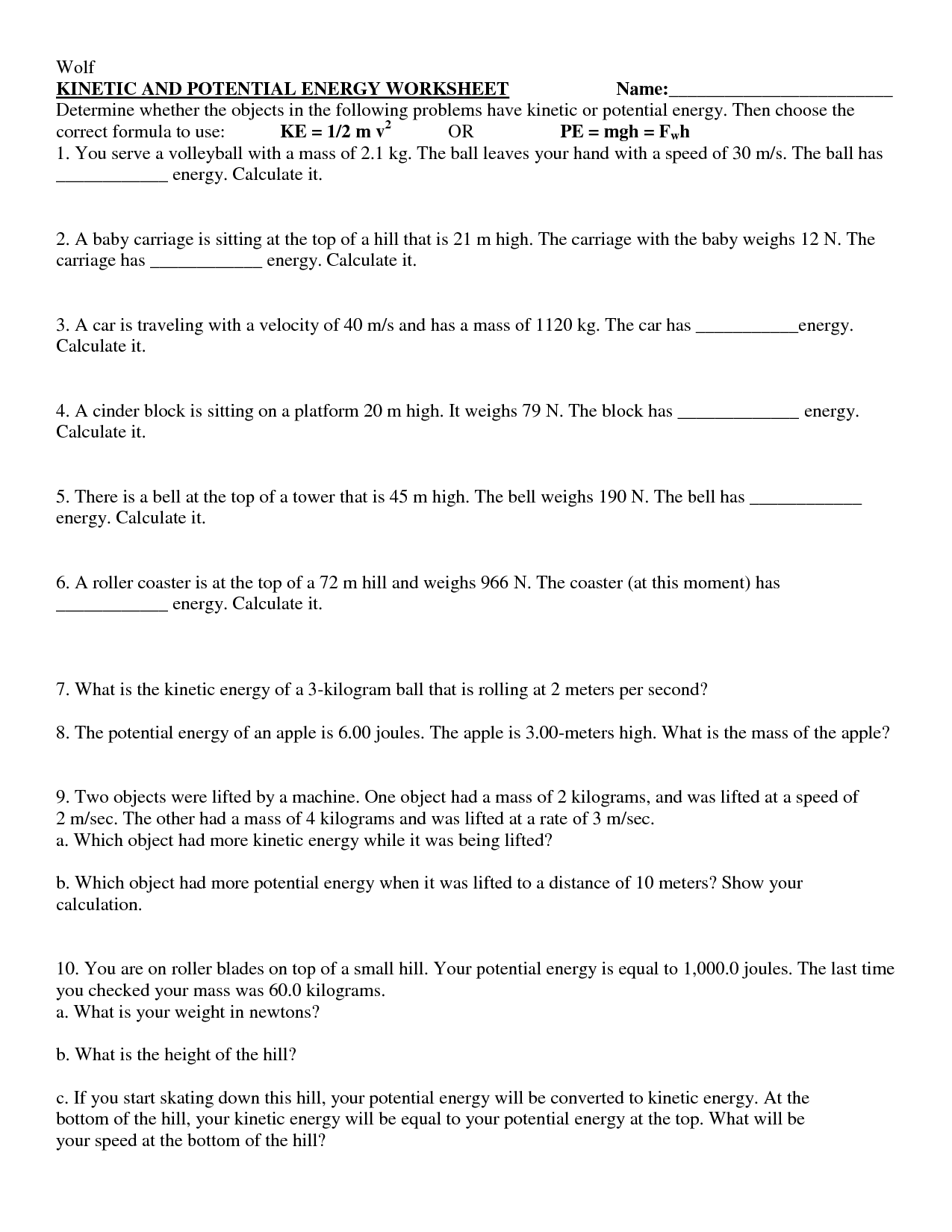 14 Best Images of Worksheets Potential And Kinetic Energy ...