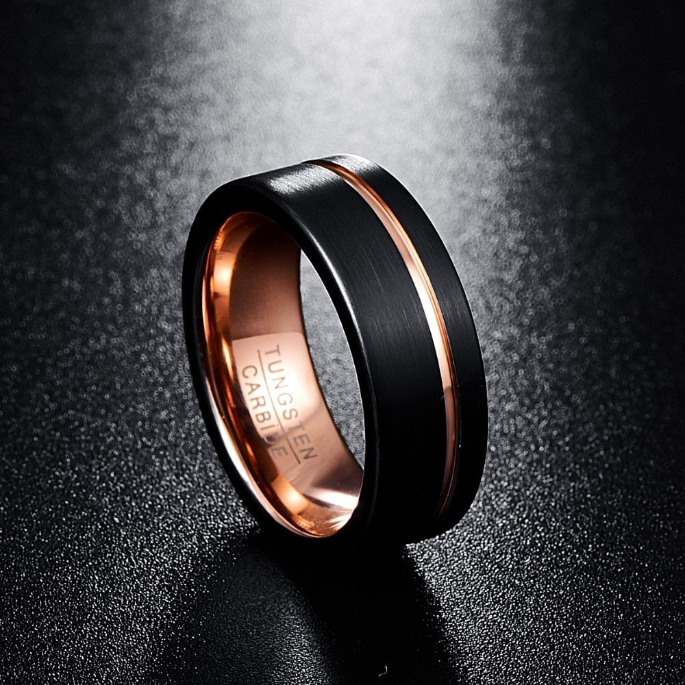 Black And Rose Gold Tungsten Mens Wedding Bands 8MM in