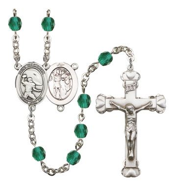 St. Sebastian / Football Silver-Plated Rosary with 6mm Zircon Fire Polished beads