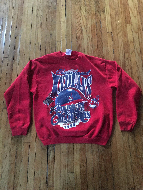 hot sale online 2b7d8 a2418 Vintage 90's Cleveland Indians American League Champs 1995 ...