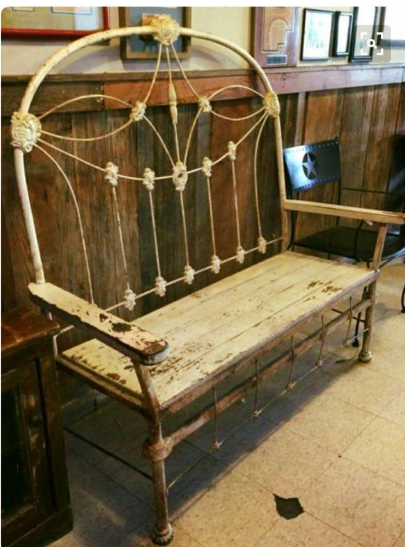 Iron Bed & Wood Made Into A Bench Porch Idea