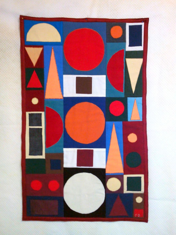 tableau contemporain graphique en patchwork textiles et tapis par patch a pat quilting. Black Bedroom Furniture Sets. Home Design Ideas