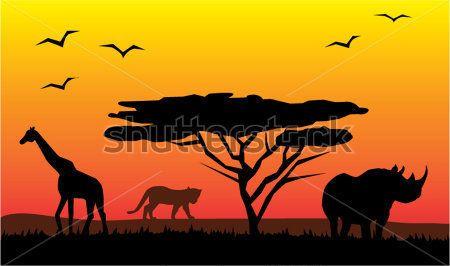 Atardecer En La Sabana Africana Buscar Con Google Paisajes De Africa Arte De Jirafas Pinturas Africanas
