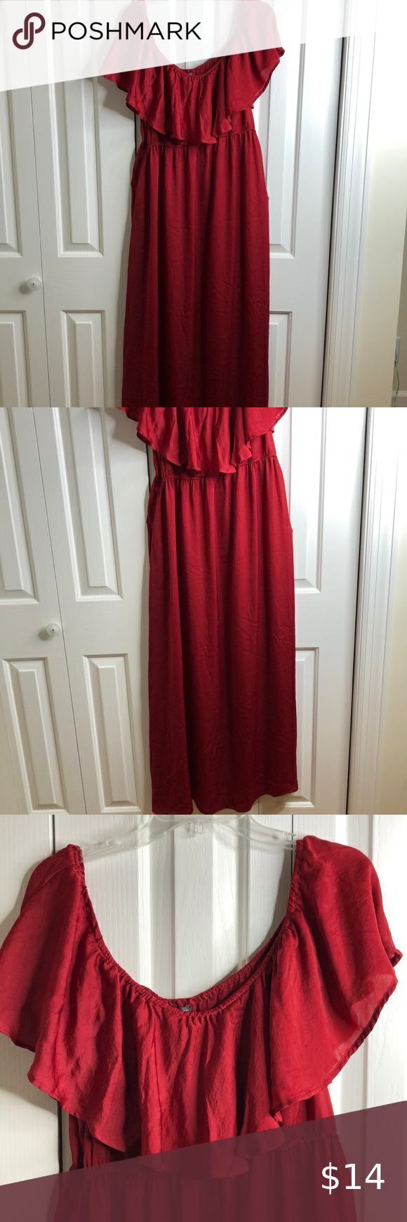 Shein Size 3x Red Off The Shoulder Maxi Dress Euc Maxi Dress Shoulder Maxi Dress Shein Dress [ 1740 x 580 Pixel ]