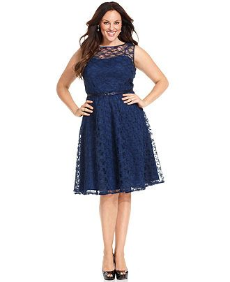 Jones New York Plus Size Dress, Sleeveless Lace Belted Full-Skirt ...