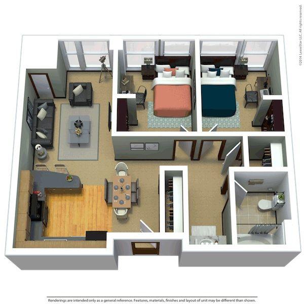 2 Bed 1 Bath Luxury Floor Plans Apartment Floor Plans Charming House
