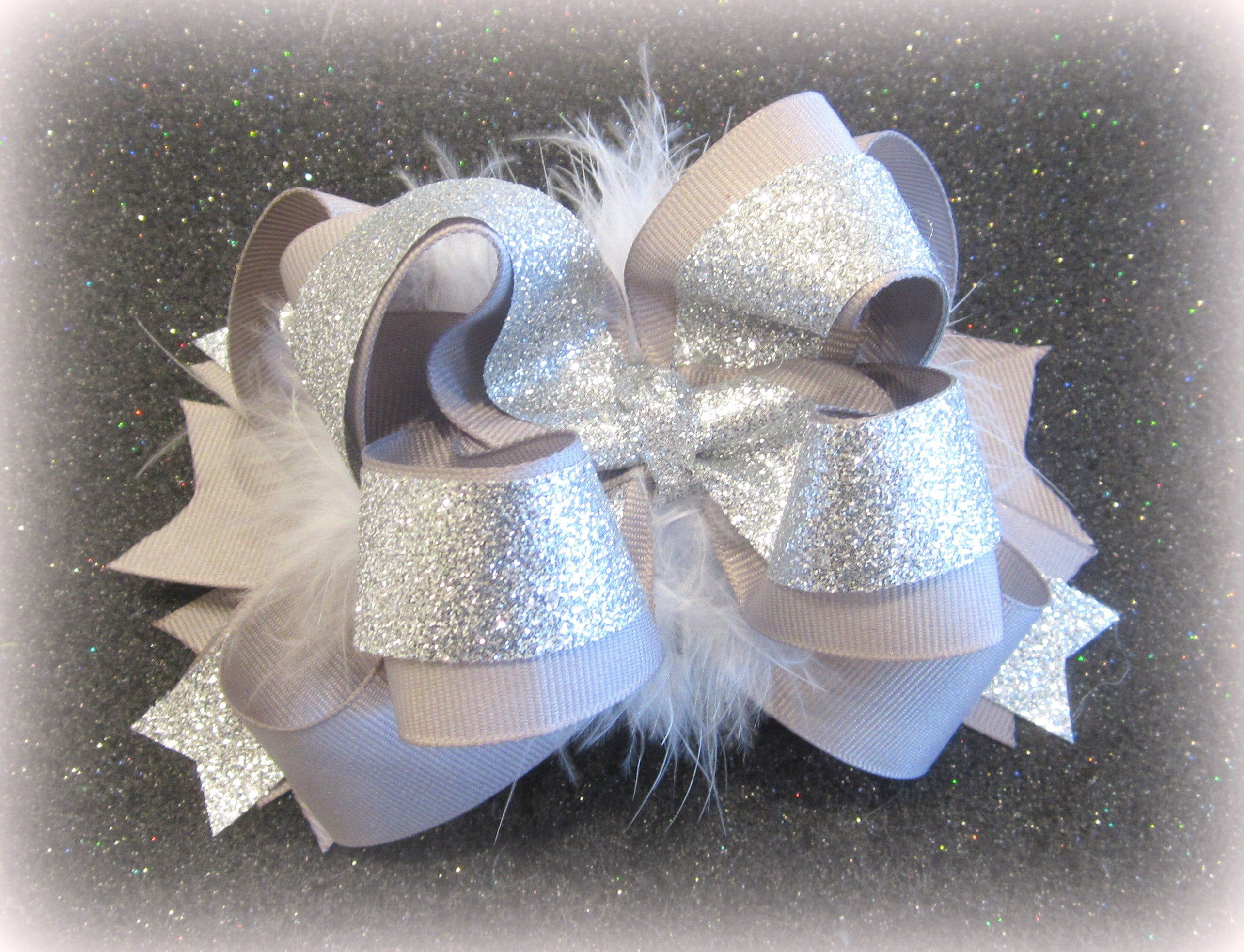 Girls Big hair Bows, Big Silver Bow, OTT Hair Bow, Silver Headband, Baby Bow, Silver Glitter Bow, Boutique Bows, Stacked Bows, Pageant Bows