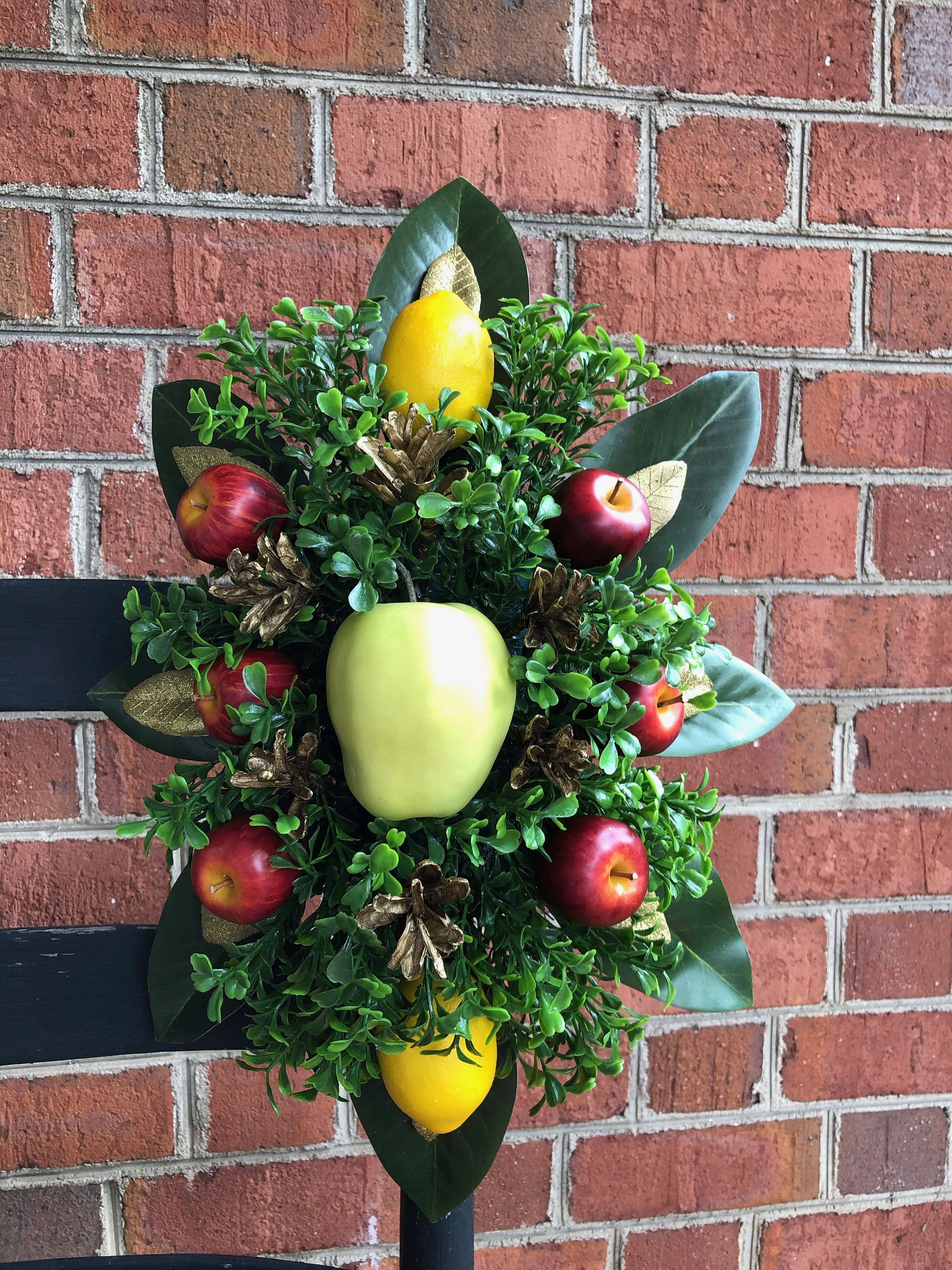Items similar to Colonial Williamsburg Style Apple Spray, Fruit Door Decoration, Magnolia and Boxwood Spray, Fruit Christmas Decor, Magnolia Leaves on Etsy