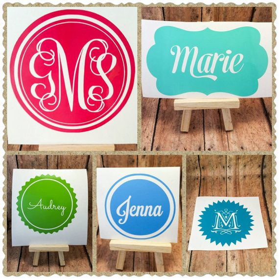 Vinyl monogram decal 4 inch vinyl name decal sticker personalized decal laptop car cell phone tablet decal name decal initials