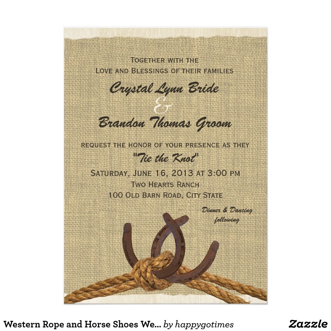 Western Rope and Horse Shoes Wedding Card \