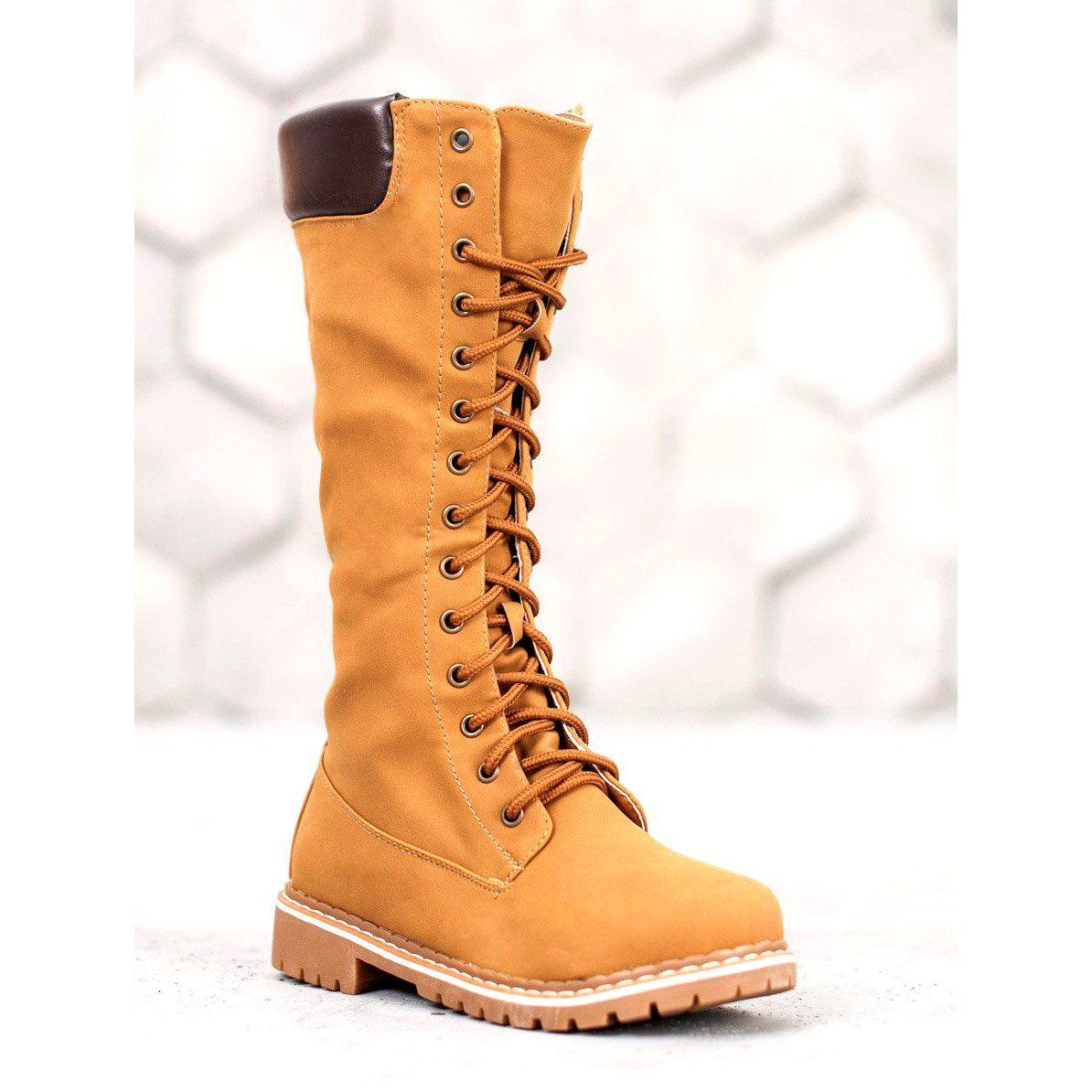 Seastar Cieple Sznurowane Kozaki Brazowe Boots Boot Shoes Women Womens Boots