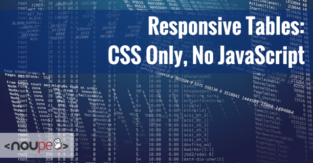 Responsive Tables CSS Only, No JavaScript