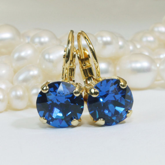 Royal Blue Earrings Gold Cobalt Swarovski Crystal Electric 8mm Single Stone Drop Rhinestones