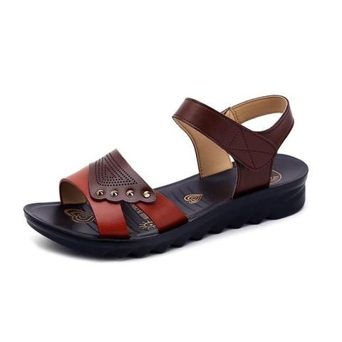 2b40073bfd2d2 Summer middle-aged women s sandals shoes 2018 fashion soft bottom non-slip  flat wedges heel comfortable flip flops women shoes-Touchy Style-Black  Green-5- ...