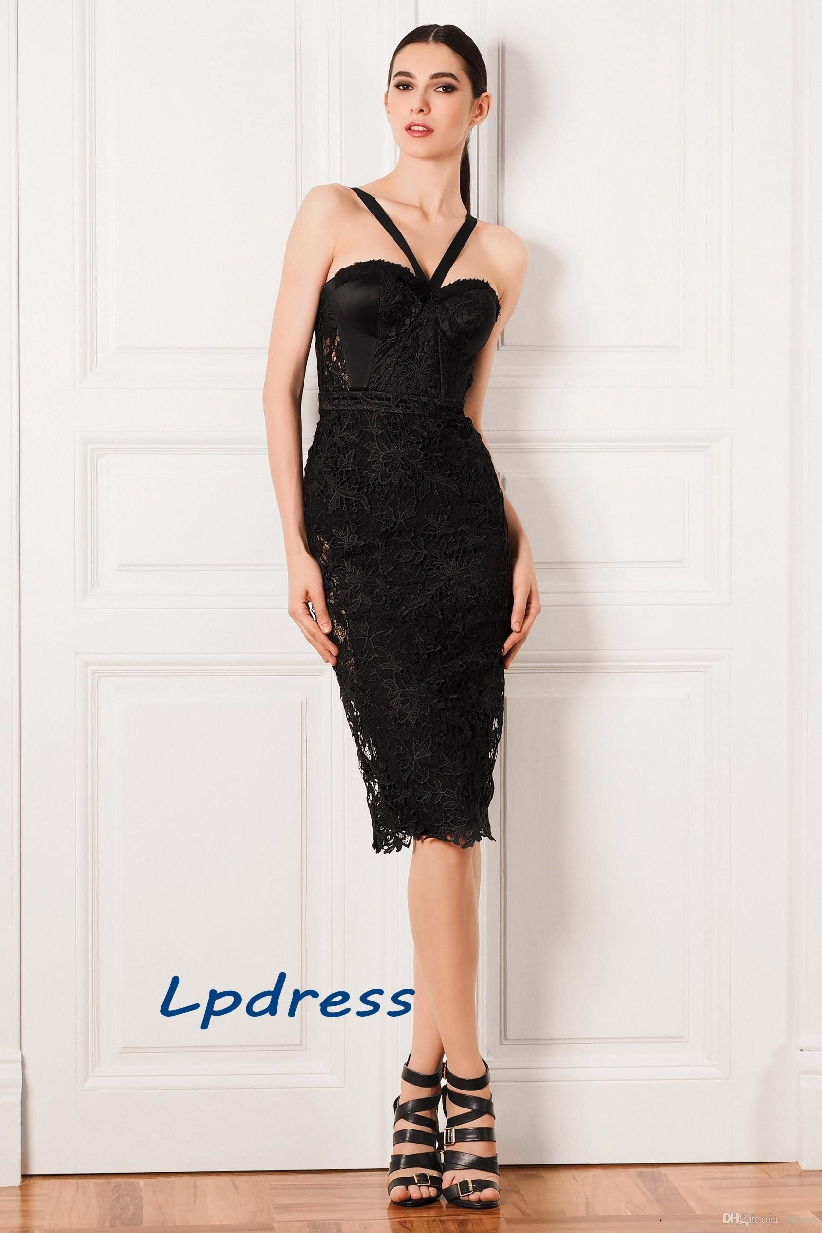 Sexy black cocktail dresses sheath sweetheart sleeveless backless