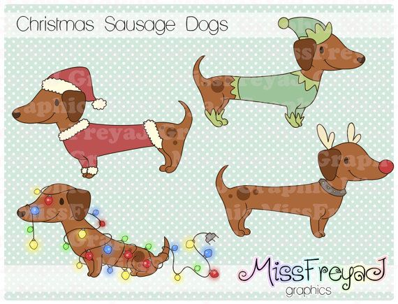 Christmas Sausage Dogs Dachshund Doxie Digital Clip Art For