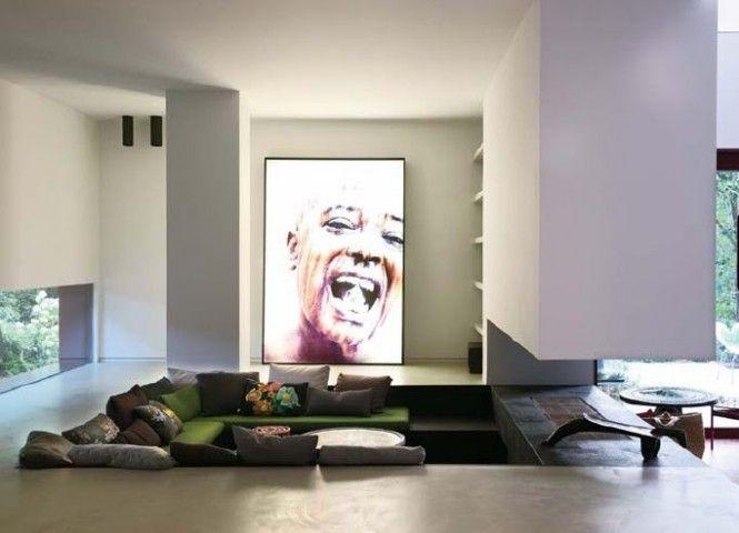 Salon moderne design fosses conversation et coins enfoncés salons smallest house and lofts