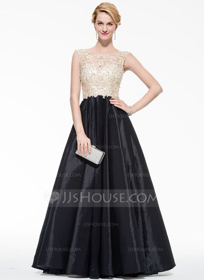 Ball-Gown Scoop Neck Floor-Length Taffeta Tulle Prom Dresses With ...