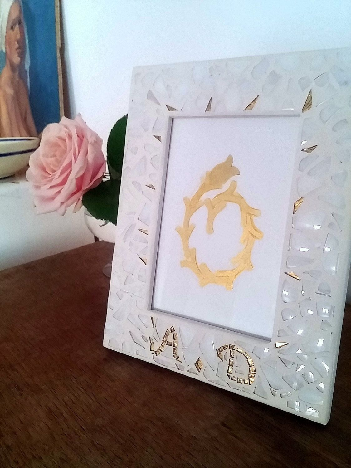 Picture Frame with Chuppah Glass Shards, Personalized Jewish Wedding ...