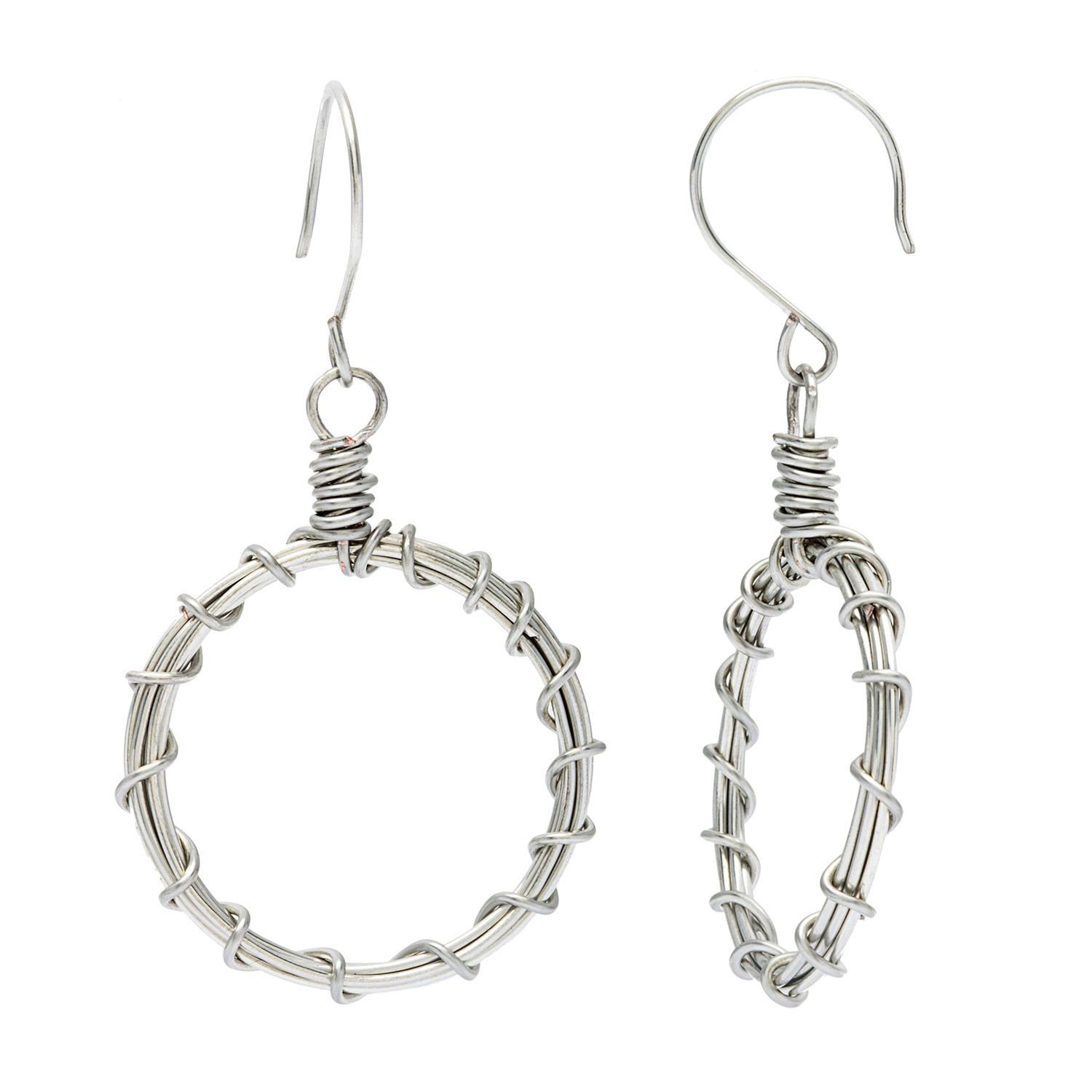 Karla Patin Silvertone Twisted Wire-wrapped Hoop Earrings | Earrings ...