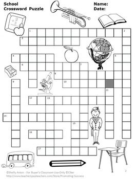 Back to School Crossword Puzzle for Beginning of the Year