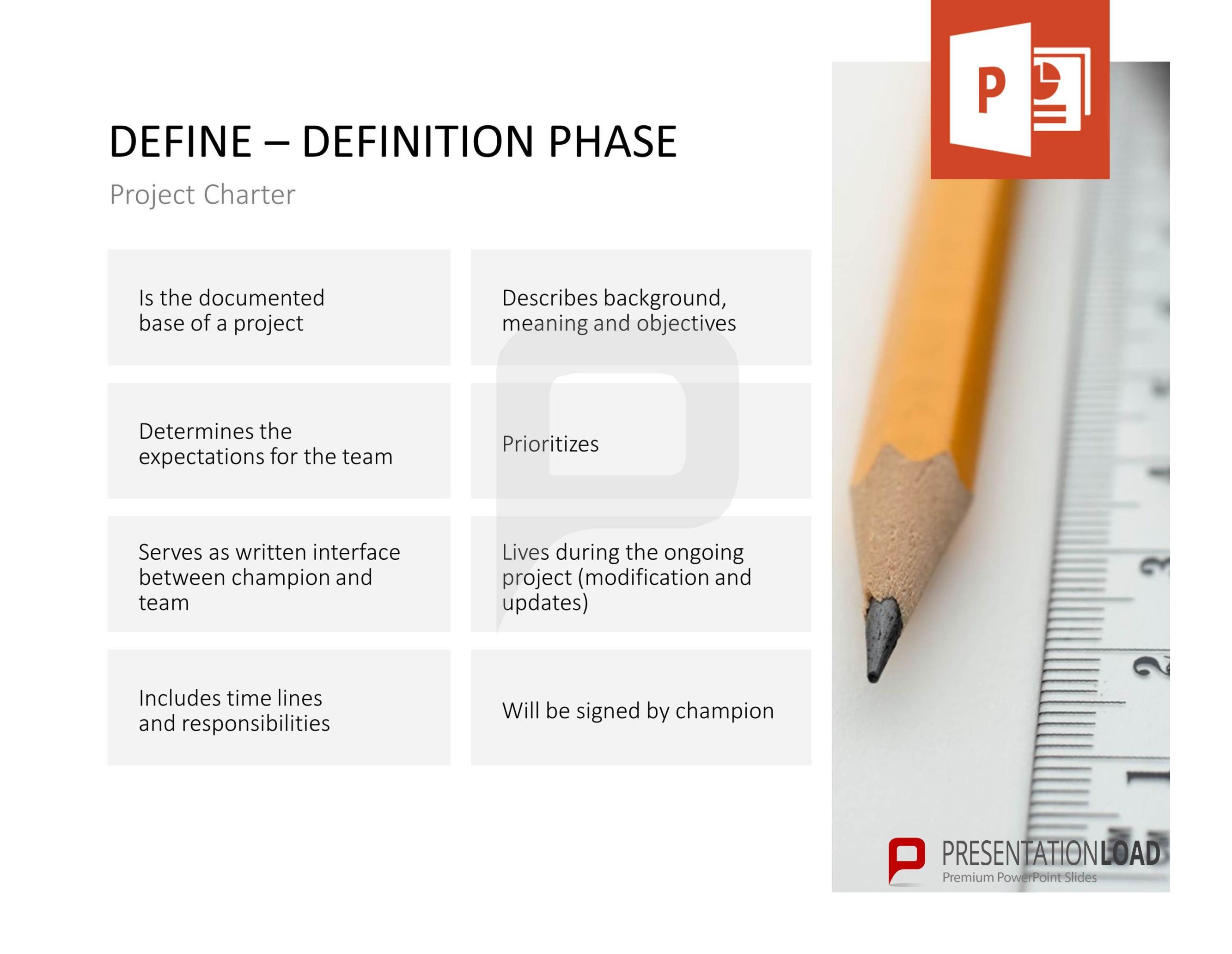 Project Charter Professional Powerpoint Presentation Lean Six Sigma Statistics Definitions Diagram