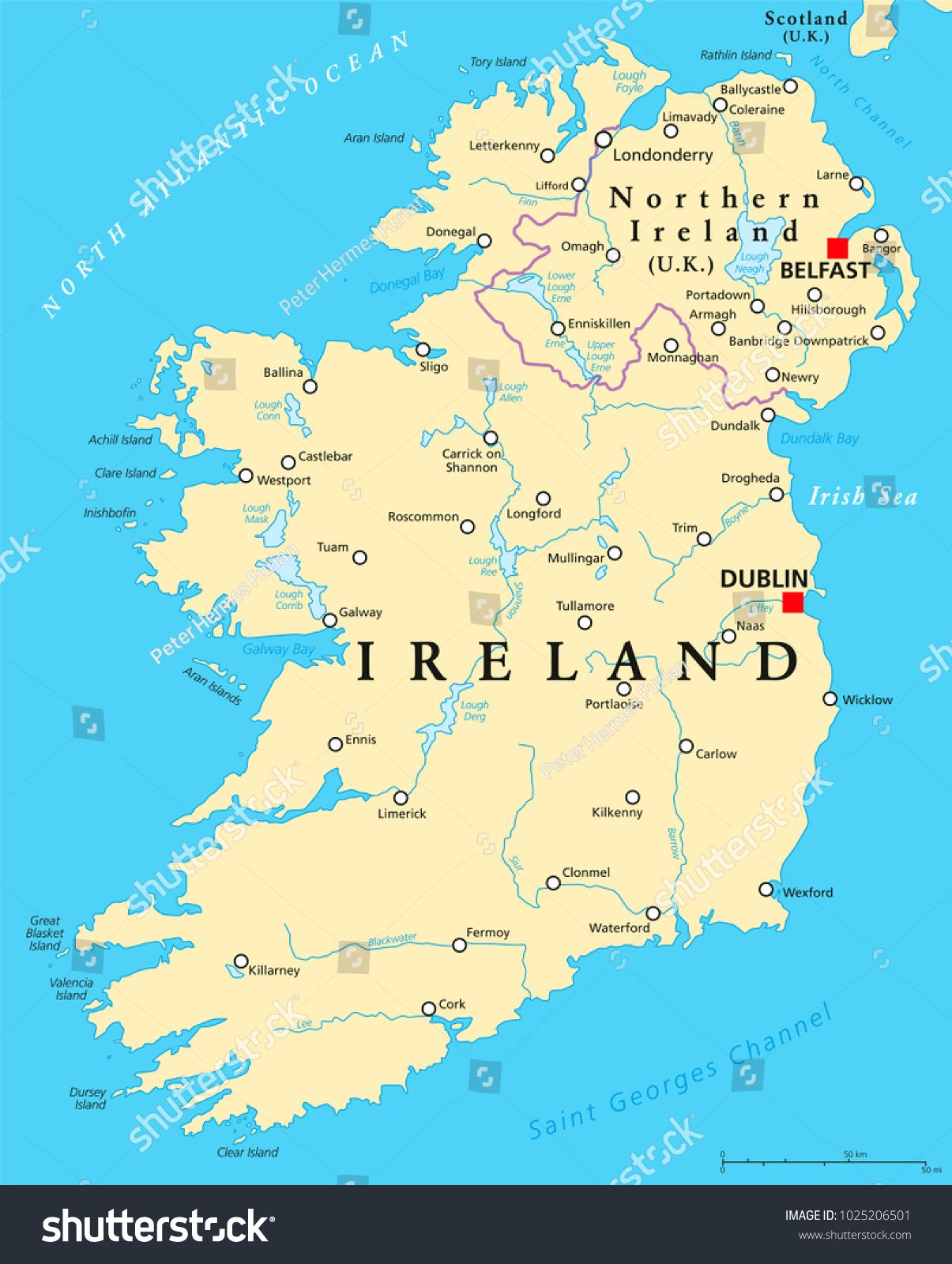 Ireland And Northern Ireland Political Map With Capitals
