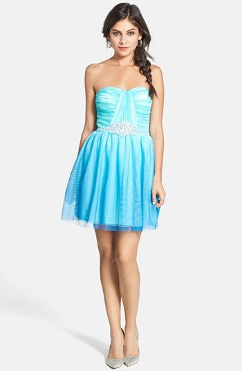 As U Wish 'Wendy' Embellished Ombré Fit & Flare Dress (Juniors) available at #Nordstrom