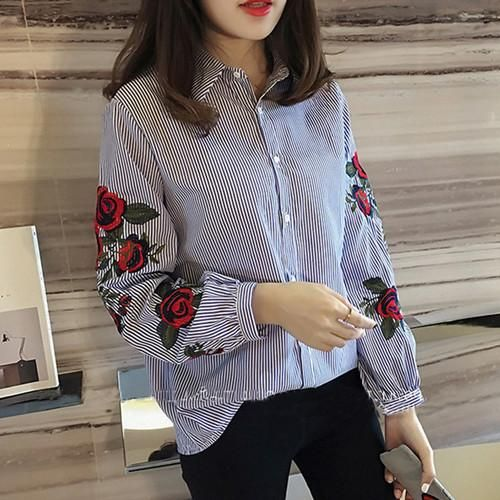 af7433d8f7f 2018 New Style Sweet Blouses Rose Embroidery Ladies Blouse Long Sleeve  Button Fashion Casual Shirt Women Tops 2 colors Plus size