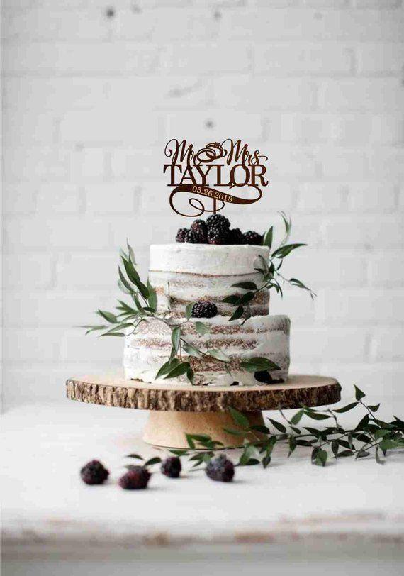 Hochzeit Ring Kuchen Topper, benutzerdefinierte Frau Frau Cake Topper, Nachname Hochzeitstorte Topper, Herr und Frau Kuchen Topper, Gold Silber Kuchen Topper