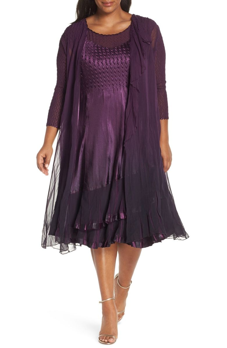 de711b48b1121 Free shipping and returns on Komarov Cascade Mixed Media Dress with Jacket (Plus  Size) at Nordstrom.com.  p Ombré-shaded charmeuse is expertly hand pleated  ...