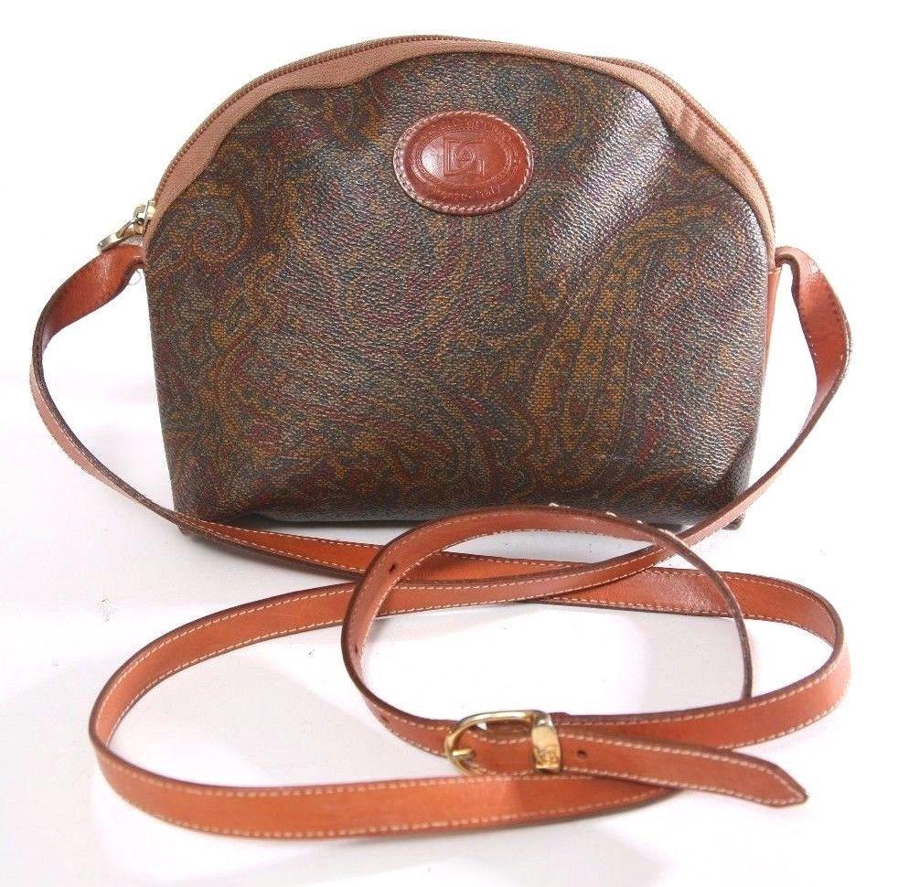 66080110188b Vintage A.Del Gobbo Paisley   Saddle Leather Crossbody Shoulder Bag - Purse  -  ADelGobbo  Crossbody