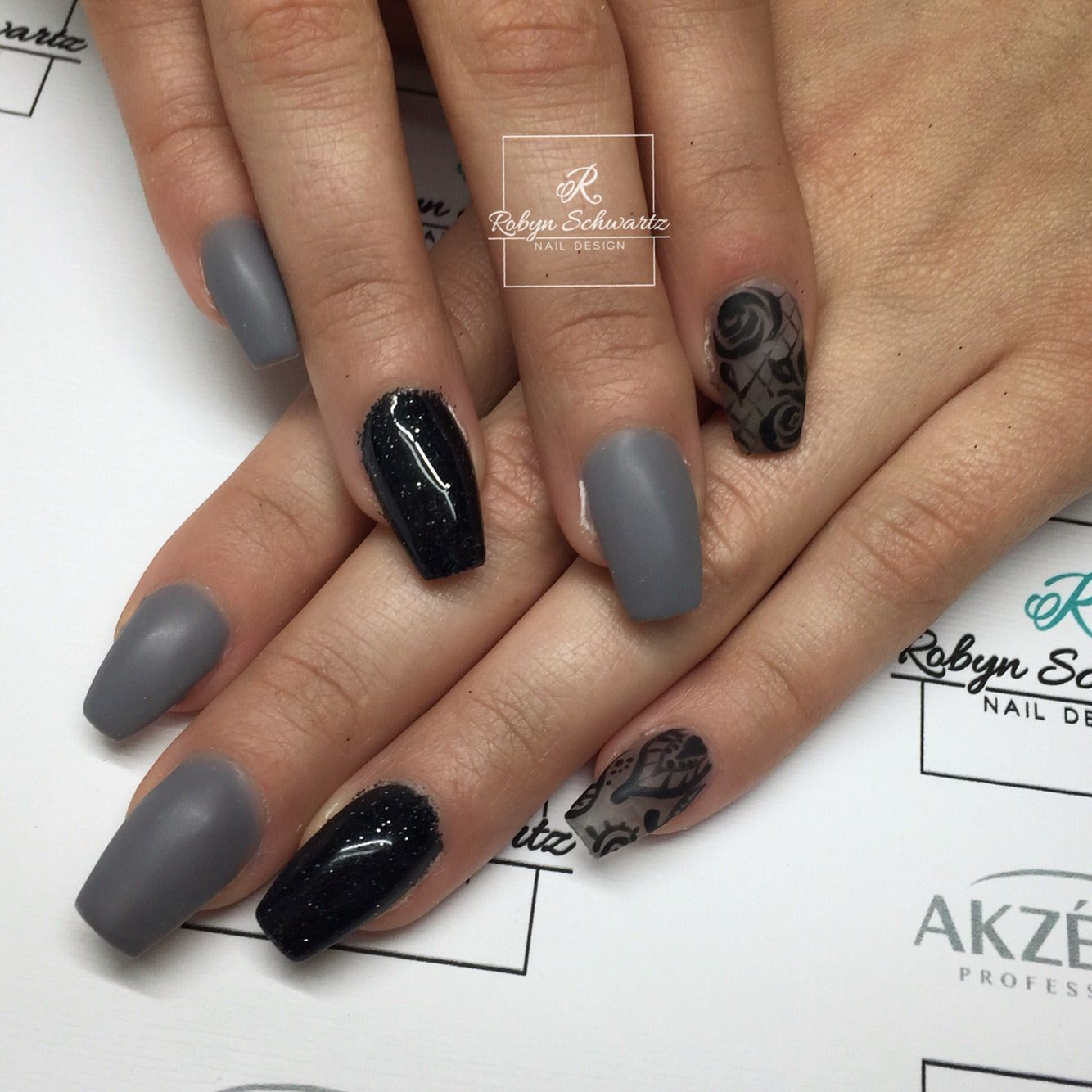 Repost Long Grey Coffin Nails With Glitter Accent Picture And Nail Design By Nailsby Matte Nails Design Prom Nails Gorgeous Nails