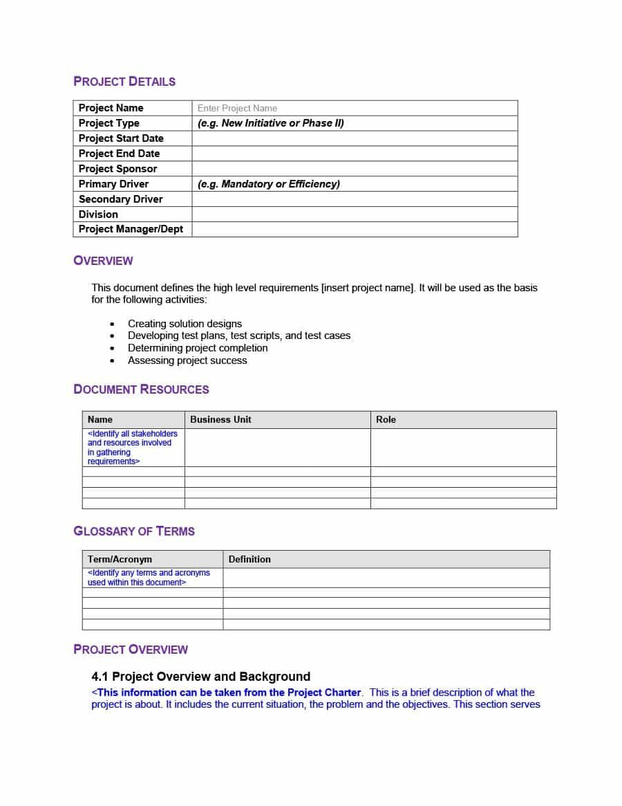 40 Simple Business Requirements Document Templates ᐅ With Regard