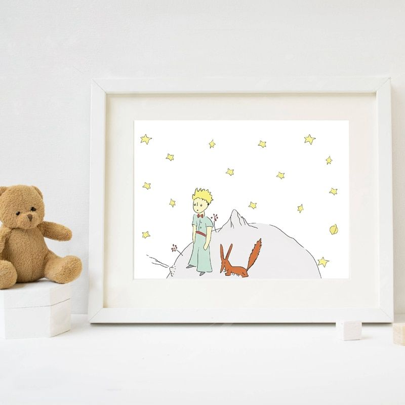 The Little Prince Poster Painting Watercolor Nursery Art The Little Prince And Fox Canvas Art Prints Kids Boy Fox Wall Art Watercolor Nursery Kids Art Prints