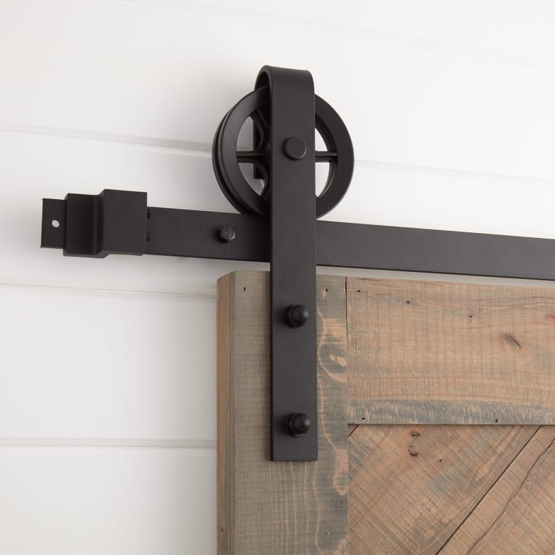 Signature Hardware 441022 Black Ando 120 Inch Barn Door Hardware Set Includes Undrilled Track Rollers And Matching Hardware In 2020 Barn Door Hardware Rustic Barn Door Barn Door Hinges