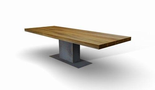 Mittelfuss Esstisch Fuss Bodenplatte Rohstahl Tisch Eiche Massiv