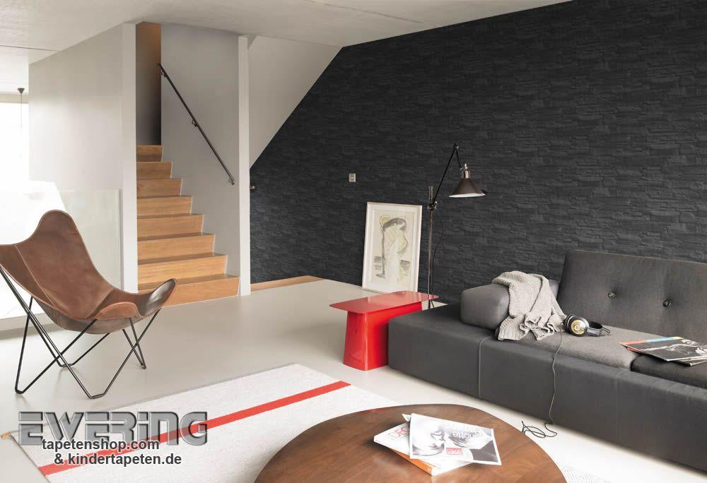 Rasch Factory 05 - Eine Vliestapete mit Stein-Mauer in schwarz wirkt